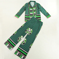 2017 Spring Runway Designer Two Piece Set Women's High Quality Long Sleeve Green Abstract Geometry Printed Blouse + Pant Suit