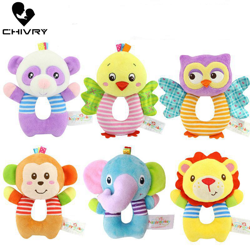 Baby Cute Rattles Toys Animal Plush Baby Cartoon Bed Toys Newborn Baby Handbells Hand Bells Plush Dolls Infant Toys Gift