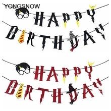 Мультяшные Волшебные тематические баннеры с днем рождения, гирлянда, Настенная гирлянда, украшение для торта, украшения для детского дня рождения