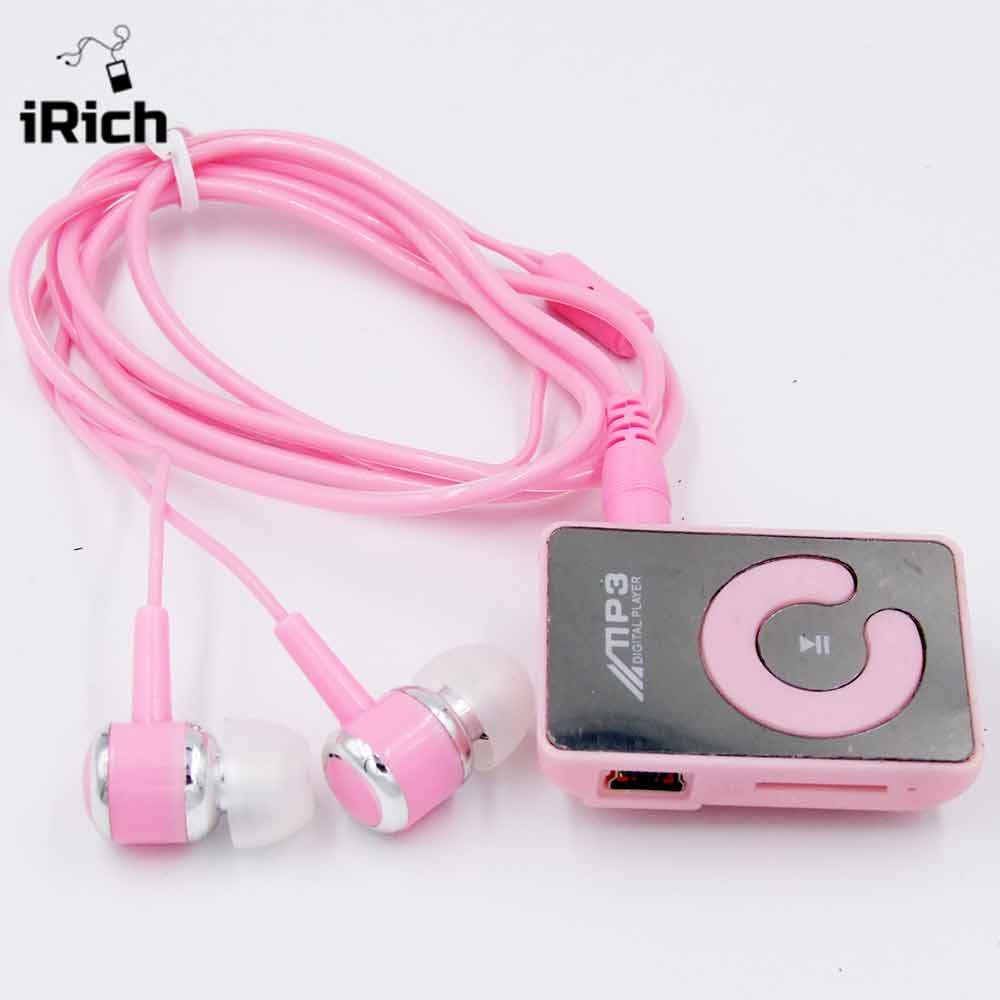 2017 New Mini Mirror Fashion Clip Sport USB Micro SD TF Mirror Button MP3 Music Player with earphone Free Shipping mp3