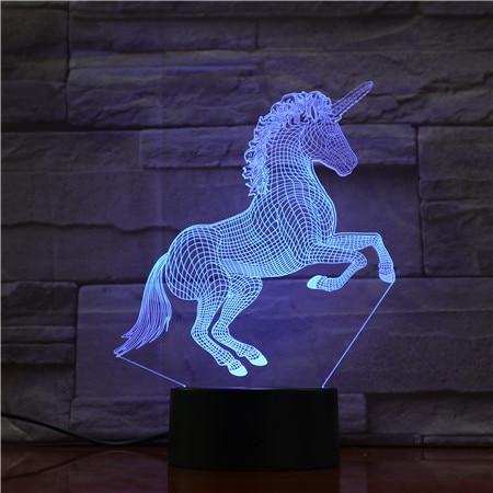 Unicorn Horse 7 Colors 3D LED  Lamp Lights Creative Gift USB touch 3D Table Lamp as Kid Room Sleeping LED Decor