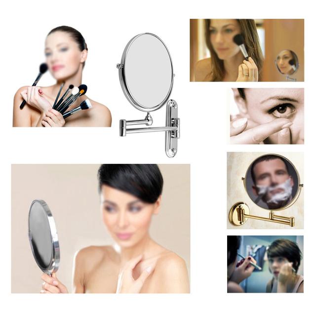 Mejor Venta de Plata Extender 8 pulgadas montado en la pared compone el espejo cosmético de afeitar baño espejo de Aumento 3x