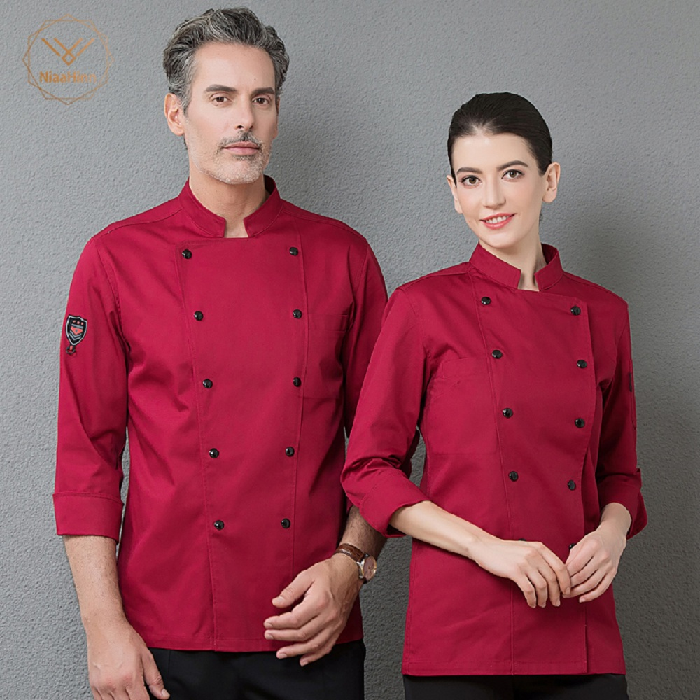 Wholesale Unisex Red Long Sleeve Double Breasted Work Jacket Top Restaurant Kitchen Chef Cooking Coat Cozinha Uniform Clothing