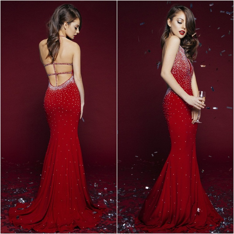Long red mermaid sexy prom dresses design haute couture for Designer haute couture dresses