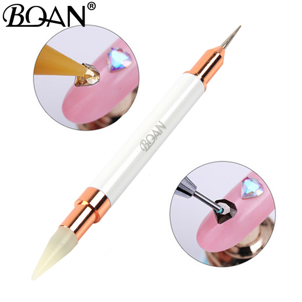 BQAN 1 Pc Dual-ended Dotting Pen Rhinestone Studs Picker Wax Pencil Crystal Beads Handle Nail Art Tool(China)