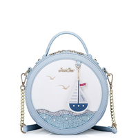 Women Bags Circular Handbags Embroidery Seagull Boat Tassel Sequins Sea Blue Pink Chain Shoulder Crossbody Bag
