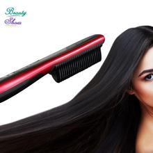 2017 New Brand Fast Hair Comb Straightener Brush Comb Electric LCD Auto Temperature Control Flat Iron chapinha Straightener
