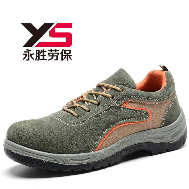 De gran tamaño de los hombres de cuero de gamuza con punta de acero cubiertas para los zapatos primavera otoño bajos atan para arriba calzado de protección de seguridad laboral sapatos