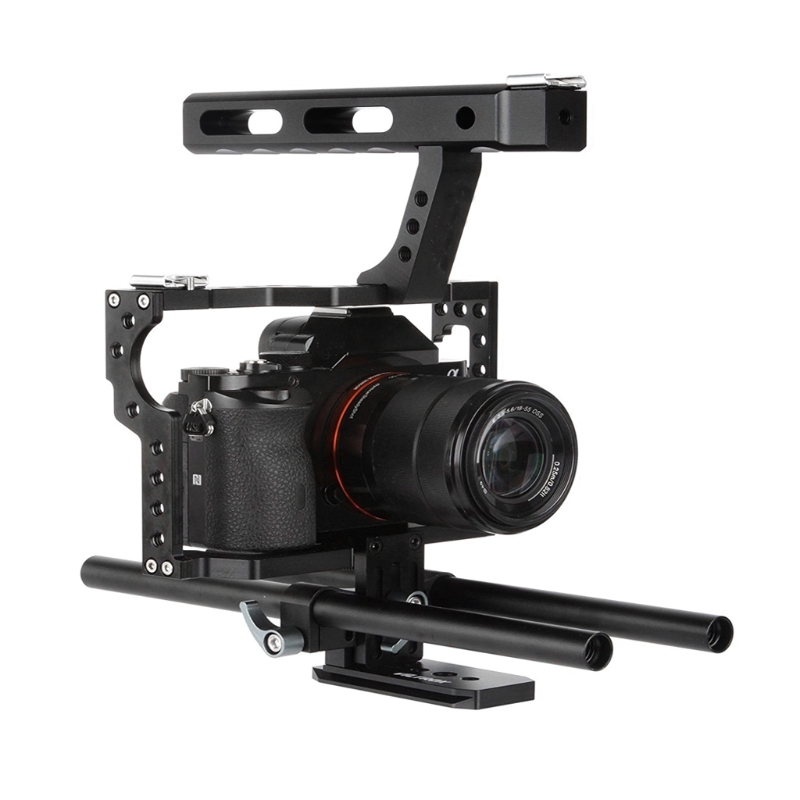цена на Portable Camera Video Stabilizer Cage Rig + Top Handle Grip Kit For Sony DSLR