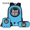 Сумка-переноска для домашних животных THIKIN Blue астронавт с 3D-принтом кошки  школьная сумка  3 шт. для девочек  детский подростковый рюкзак  инди...