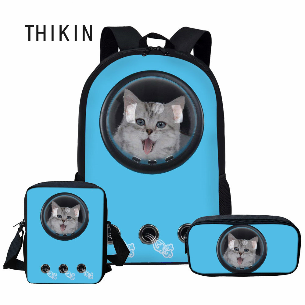 THIKIN Blue Astronaut Pet Carrier 3D Cat Print School Bag 3pcs For Girls Kids Teenage Backpack Custom Schoolbag Student Bookbags