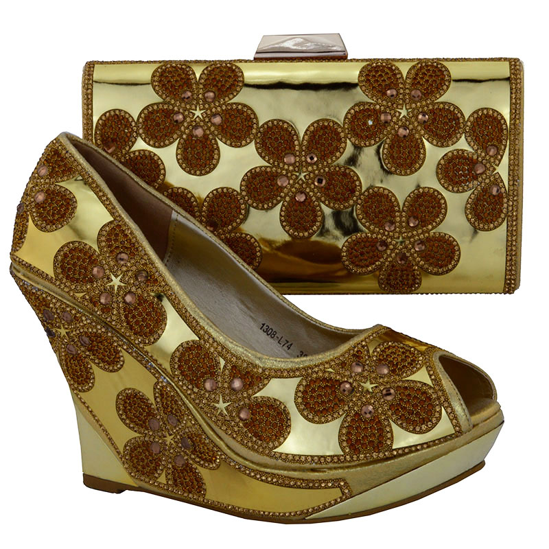 ФОТО New coming African sandals Italian shoes and bags to match,gold color shoes with bag set !!!! WOW30