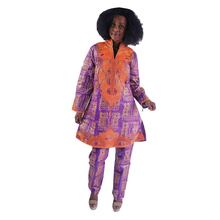 MD women african clothing 3 piece set bazin riche top with pants suit headtie dashiki africa embroidery clothes