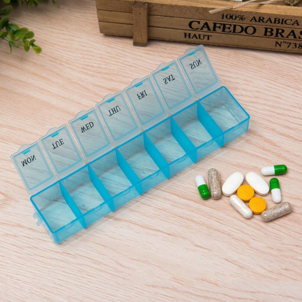 7 дней в неделю Tablet таблетки медицина Box держатель для хранения Организатор Контейнер Дело Pill Box разветвители случайный цвет