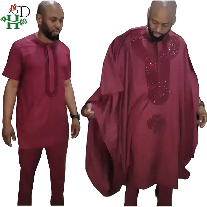H&D African Agbada Men Clothes Suits Robe Tops Pant 3 Pieces Set African Traditional Men's Dashiki Clothing With Rhinestones