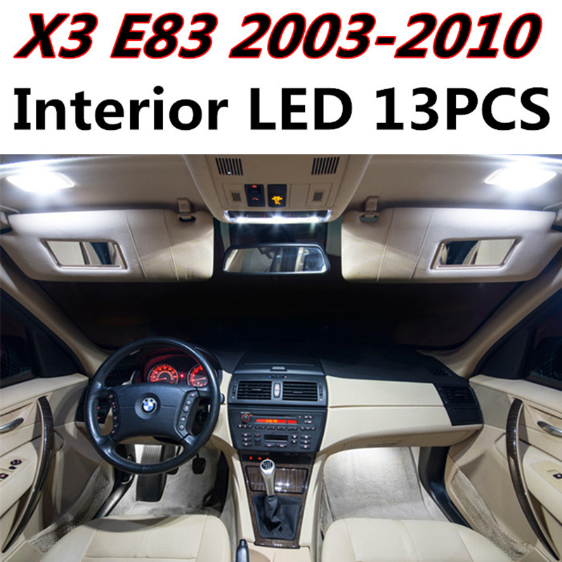 13pcs X free shipping Error Free LED Interior Light Kit Package for BMW X3 E83 accessories 2003-2010 free shipping new arrival 35pcs pack 2m pcs led aluminum profile for led strips with milky or transparent cover and accessories