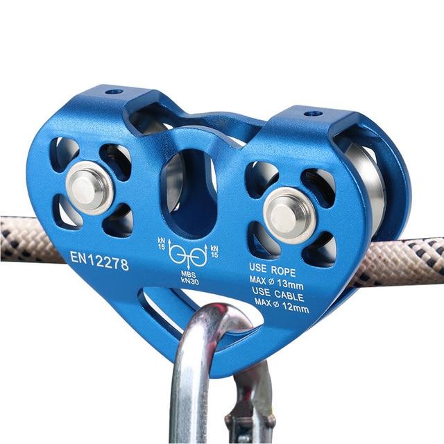 Lixada poulie de chariot à câble 30kN avec roulement à billes, accessoires pour lescalade sur glace en plein air, poulie en alliage daluminium de sauvetage