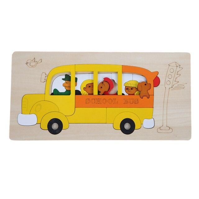 Мульти-мерного Головоломки Деревянные 3D Головоломки Детские Игрушки Автобус Головоломки Лобзики Игрушки для Детей