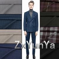 Europe station French thin worsted wool fabric suit trousers clothing lattice bespoke grid stripe herringbone fabric