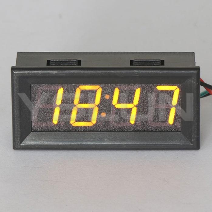 clock panel meter dc 12v 24v yellow led digital clock 24. Black Bedroom Furniture Sets. Home Design Ideas