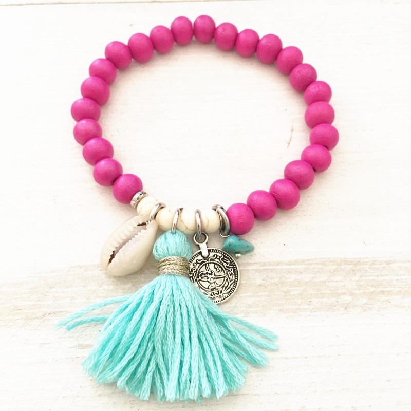 Bohemian tassel bracelet colorful wooden beads stretch women bracelet 2018 new jewelry shell pendant beach party Christmas gift(China)