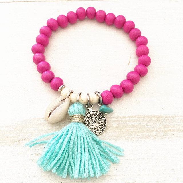 Bohemian tassel bracelet colorful wooden beads stretch women bracelet 2018 new jewelry shell pendant beach party Christmas gift