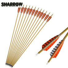 6/12Pcs 30 Pure Carbon Arrows Spine 500 Arrow  4 Natural Feather For Outdoor Shooting Sports Target Archery Accessories