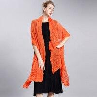 Changpleatผ้าคลุมไหล่ผ้าพันคอ2017 Miyakจีบออกแบบhigh endแฟชั่นพับแข็งผู้หญิงขนาดใหญ่ผ้าพันคอผ้าคลุมไหล่ท...