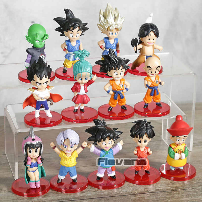 Dragon Ball Z Criança Jovem Filho Bulma Gohan Goku Chichi Vegeta Trunks Piccolo Upa Mini PVC Figuras Brinquedos Kuririn 13 pçs/set