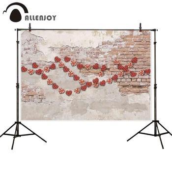 Allenjoy fotografie hintergrund rot herz grungy ziegel wand hintergrund photo photobooth foto studio schießen prop stoff