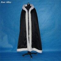 Black Fur trim satin cloak bridal coat shawl wrap renaissance wedding medieval cape cover up