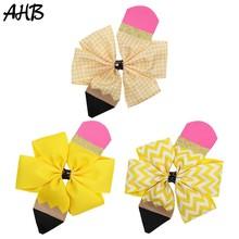 AHB 2Pcs/lot 4 Pencil Print Hair Bows for Girls Back to School Supplier Hairgrips Pen Quality Ribbon Clips Kids Headwear