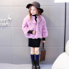3-10Y Young Girls Winter Fur Coat Natural Rabbit Fur O-Neck Jackets for girls Full Sleeve girls warm Tops Princess Solid Coats