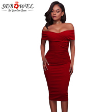 SEBOWEL Sexy Red Off Shoulder Bodycon Party Dress Women Elegant Strapless Ruched Midi Dress Formal Evening Gown Dress Female