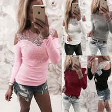 New Women Sexy Solid Lace Cold Shoulder Long Sleeve Slim Top T-Shirts Brief Womens Ladies Casual T Shirt Tops