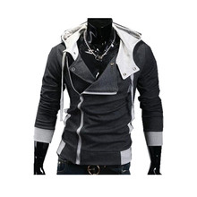 Hot new spring and autumn 2016 men's fashion casual korean Slim solid color stitching high-quality hooded jacket