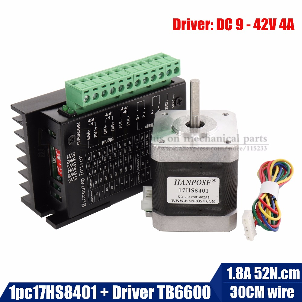 Free Shipping 1pcs Stepper Motor 4-lead Nema17 48mm / 78Oz-in / 1.8a(17HS8401) motor with TB6600 stepper motor driver NEMA23 17