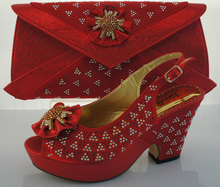 Fashion Design Italian Shoes And Matching Bags For Wedding And Party Nigeria Shoes With Handbag To Match Red Color ME2209