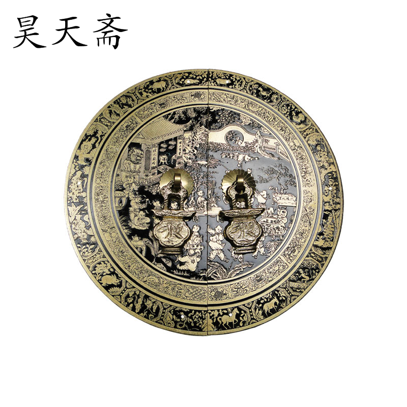 [Haotian vegetarian] Chinese antique cabinet drawer handle copper HTB-147 section diameter 18CM Beizitou [haotian vegetarian] antique copper door handle chinese handle htb 179 custom models diameter 14cm