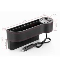 1pcs USB port portable Charger Car Seat creative Storage Box Seat Gap Filler Organizer Catcher Box accessories