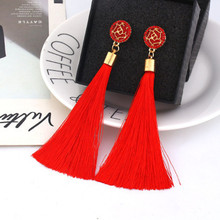 Europe and America exaggerated fashion bohemian tassel crystal long earrings black white red silk fabric pendant ladies e