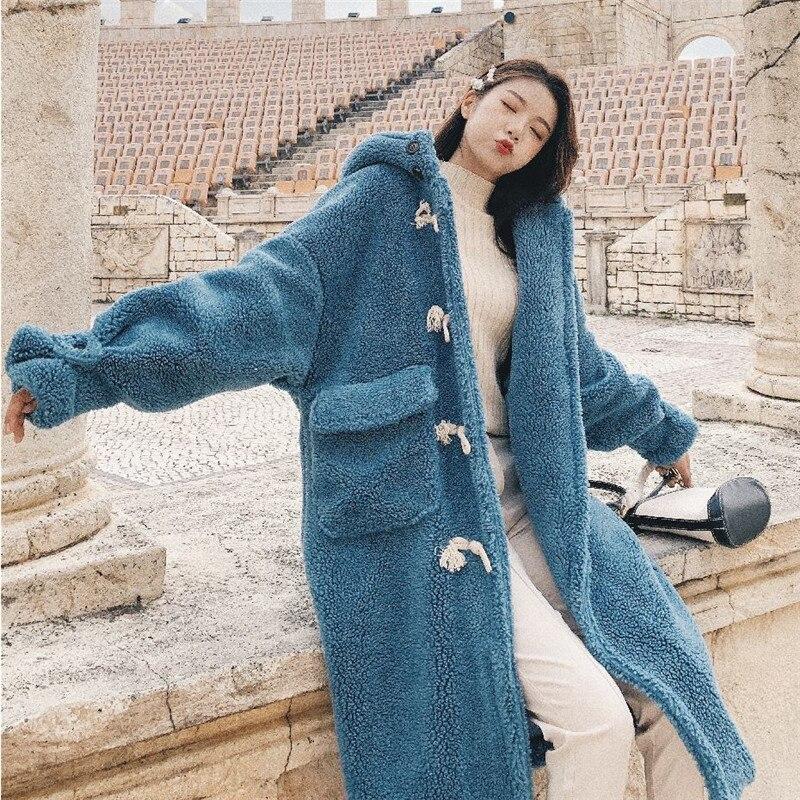 Coréen Épais Parka De Femmes Chaud En Laine Longue Outwear Manteau brown Capuche Beige blue Élégant Mode Corne D'agneau Bouton Hiver 2018 Hirsionsan Nouvelle QxWBoedCrE