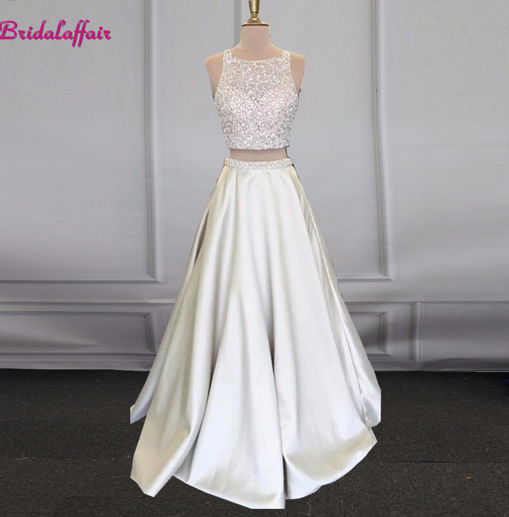 vestido formatura Beautiful 2019 Hot Long Silver Two Piece Prom Dress Women Bead Satin Formal Evening