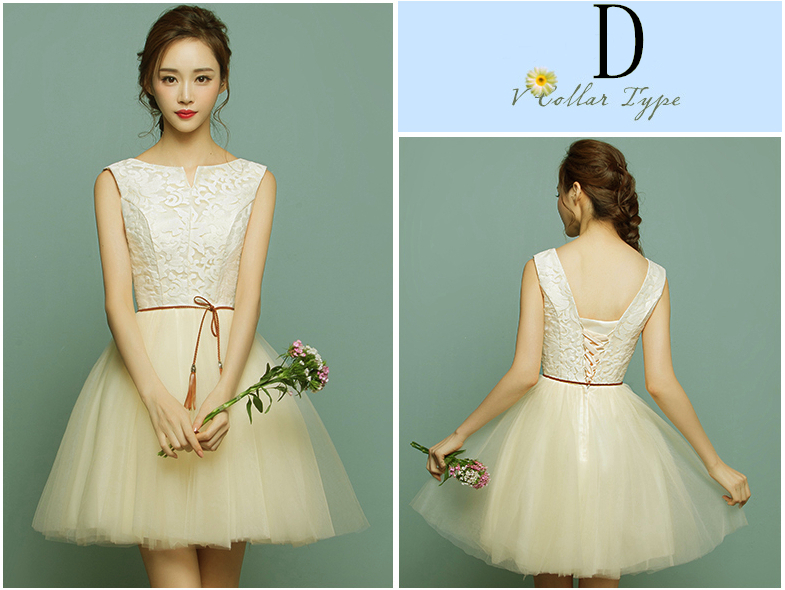 c53926467375 ≧Country style abito corto formale lace up back champagne tulle ...