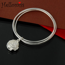 Silver Bangle Bracelet for Women Double Round Charm Cuff Bangles 9 Style Fashion Accessories Brand Jewelry Pulseira Feminina square faux gemstone double layered cuff bracelet