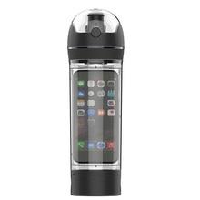 Tritan sin bpa deporte botellas de botellas de agua botella caso para iphone 6 espacio portátil de viaje deportes botella de senderismo a caballo kc1374