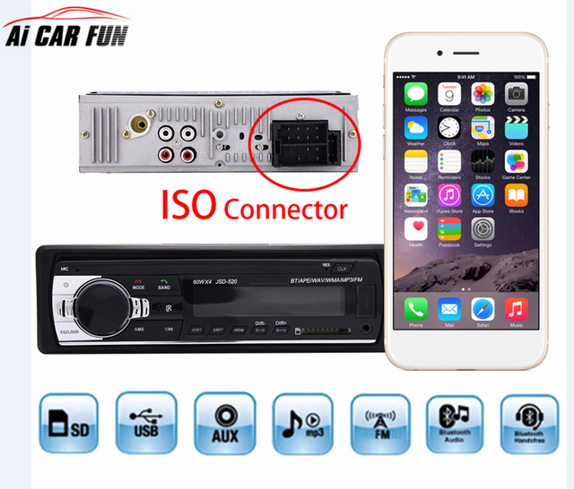 iSO Connector Car Radio Stereo Player Bluetooth Phone AUX IN MP3 FM ...