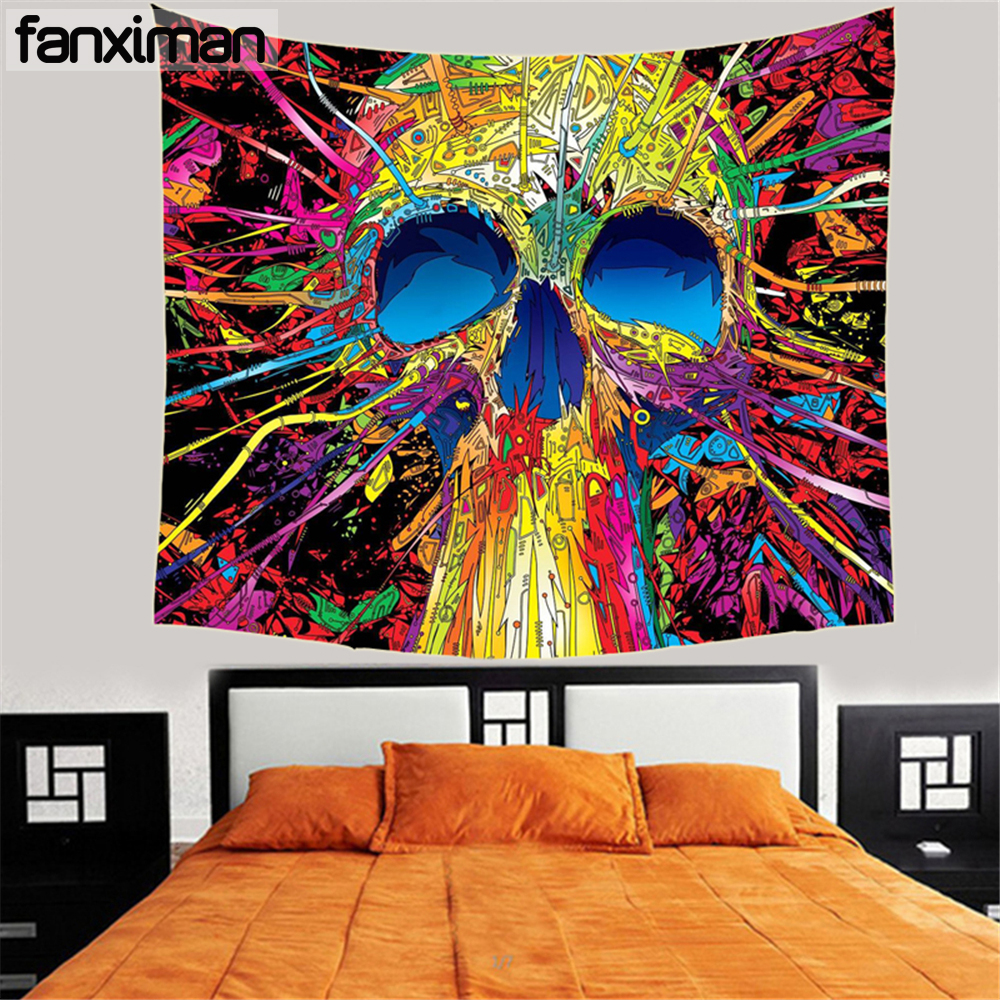 Fanximan Customized Cool Skull Printed Hanging Tapestry Wall Art Home Decor Tapestries Sofa Towel Picnic Cloth Multi Use