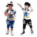 2016 new summer fashion leisure suit for girls in children cartoon Mickey Mouse short sleeved pants seven wholesale