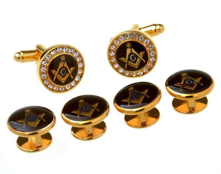 040447db93b6 ... Gold Crystal Freemason Tuxedo Cufflinks Collar Studs Set 6pcs Set  Masonic Free Mason Cuff Links Stud